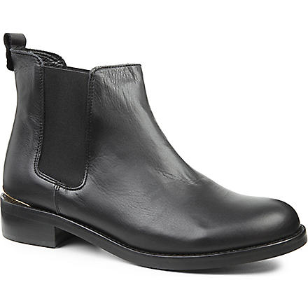 KG KURT GEIGER Short leather metallic-accent Chelsea boots (Black