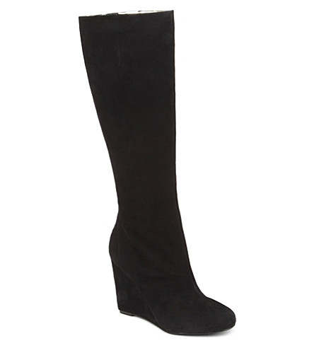 NINE WEST Ravvy-N suede knee-high wedge boots (Black