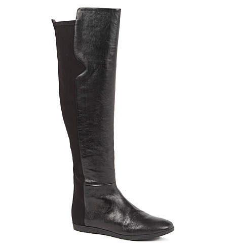 NINE WEST Teggy leather over-the-knee boots (Black