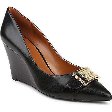 NINE WEST Wirca chain-detail leather wedges (Black