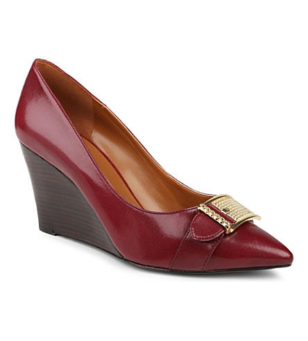 NINE WEST Wirca chain-detail leather wedges (Wine