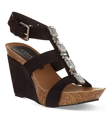 CARVELA Kayleigh embellished wedge sandals (Black