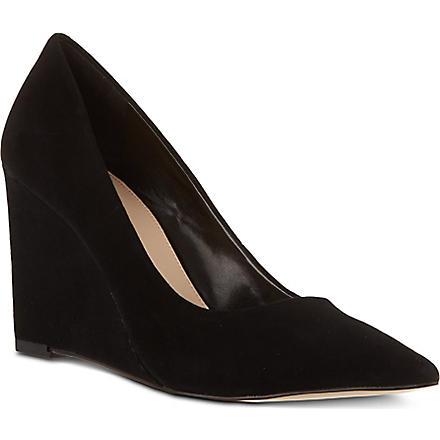 CARVELA Abbie suede wedge court shoes (Black