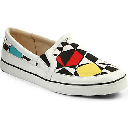 NINE WEST Brodie leather plimsoles (Blk/white