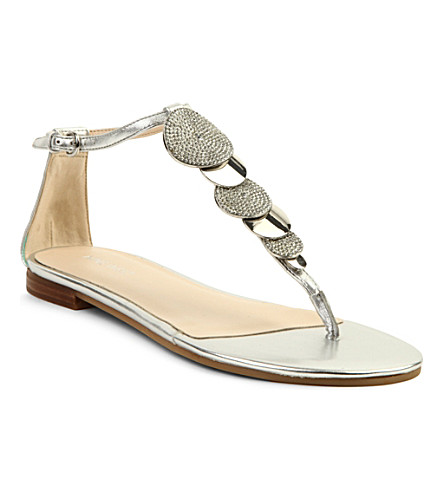 NINE WEST Zacharia metallic leather sandals (Silver