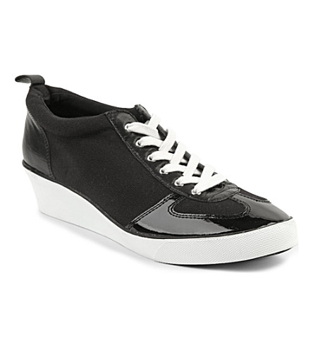 NINE WEST Paisley canvas wedge trainers (Black