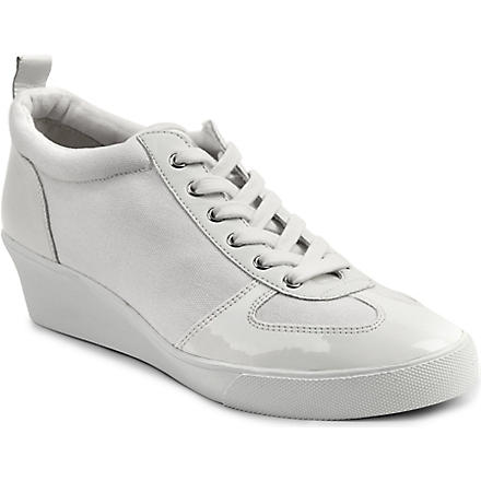 NINE WEST Paisley canvas wedge trainers (White