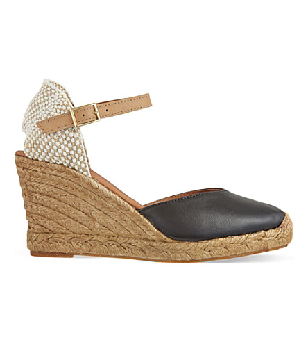KG KURT GEIGER Monty leather wedge sandals (Black