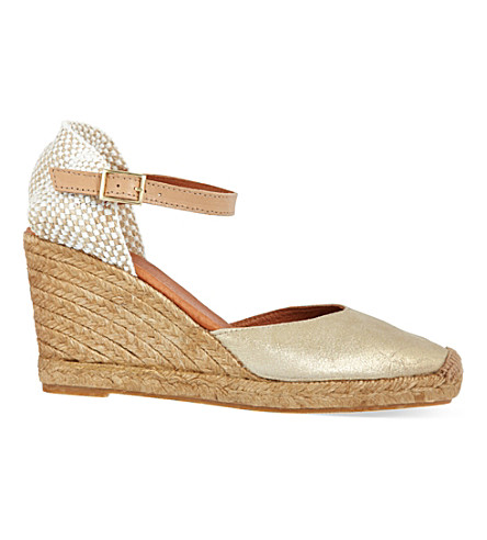 KG KURT GEIGER Monty leather wedge sandals (Metal+comb