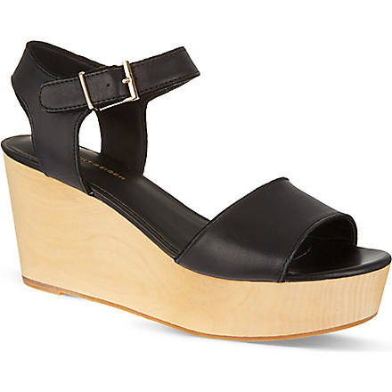 KG KURT GEIGER Nia wooden heel sandals (Black