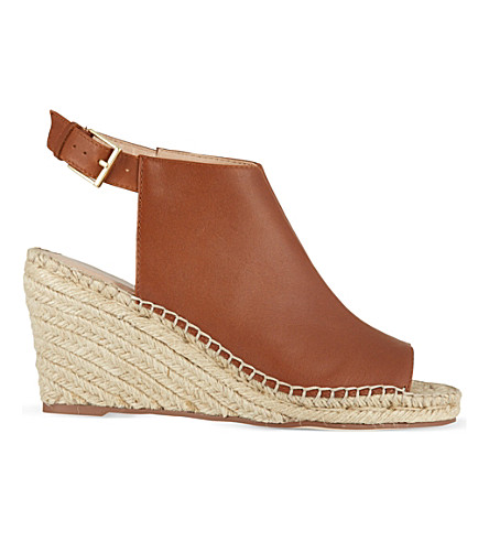 KG KURT GEIGER Nelly leather wedge sandals (Tan