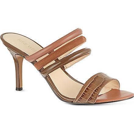 NINE WEST Gabyy croc leather sandals (Brown