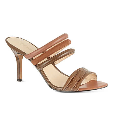 NINE WEST Gabyy croc leather sandals (Brown