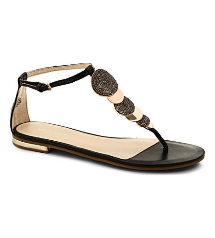 NINE WEST Zacharia leather t-bar sandals (Black
