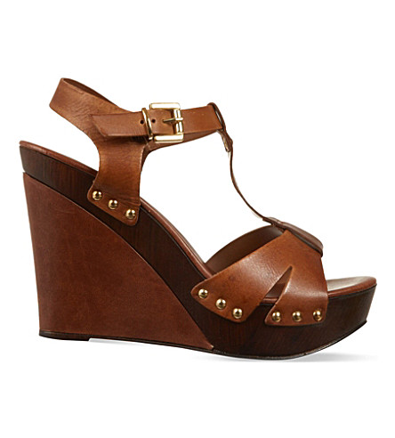 CARVELA Katey leather wedge sandals (Tan