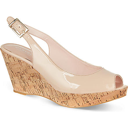CARVELA Klix patent platform wedge sandals (Nude