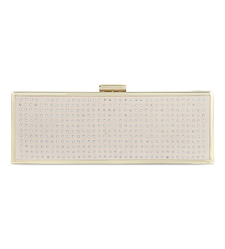 CARVELA Blaze embellished box clutch (Nude