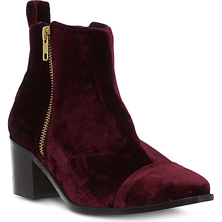 KG BY KURT GEIGER Serpent velvet ankle boots (Wine