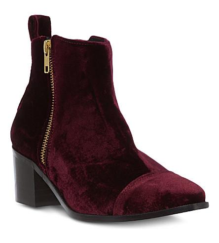 KG KURT GEIGER Serpent velvet ankle boots (Wine