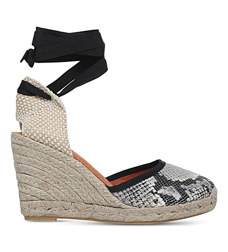 KG KURT GEIGER Mimi leather and textile wedge sandals (Beige+oth