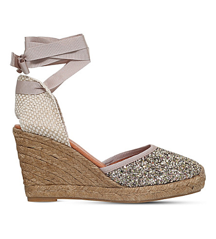 KG KURT GEIGER Mimi glitter wedge sandals (Gold