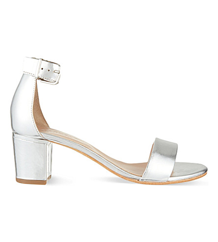 CARVELA Krisp leather heeled sandals (Silver