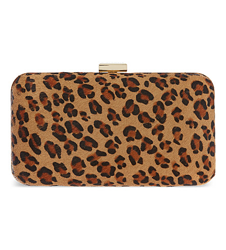 KG KURT GEIGER Dandy leopard box clutch (Brown