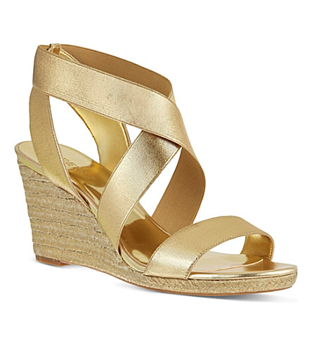 NINE WEST Juna2 elastic wedge sandals (Gold