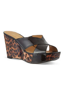 NINE WEST Etzamore patent wedge sandals