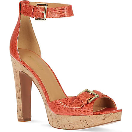 NINE WEST Edeline lizard print heeled sandals (Orange