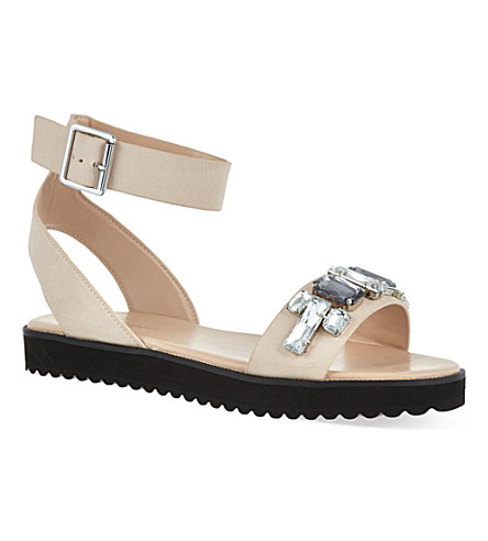 KG KURT GEIGER Night bejeweled leather sandals (Nude