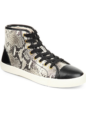 KG KURT GEIGER Leap snake-print leather high-top trainers