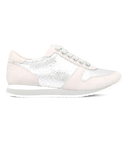 CARVELA Libby leather and metallic trainers (Silver+com