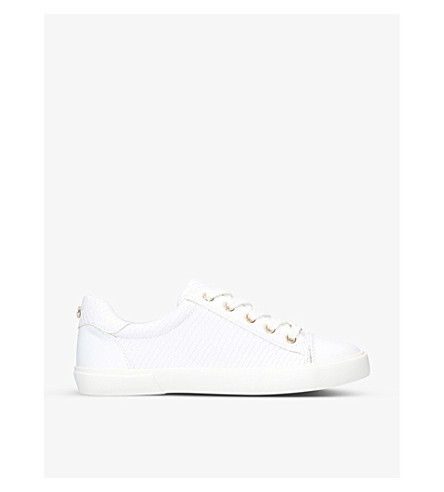 CARVELA Light reptile-embossed faux-leather trainers (White