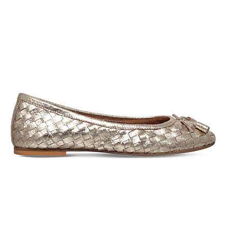 CARVELA Luggage metallic-leather ballet flats (Gold