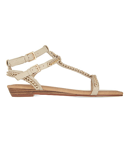 MISS KG Roz woven t-bar sandals (Nude