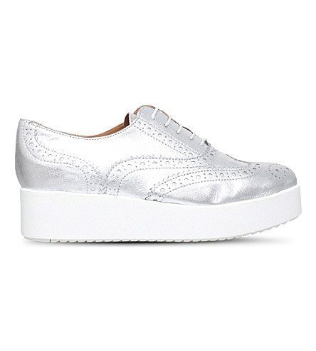 CARVELA Leslie leather flatform brogues (Silver