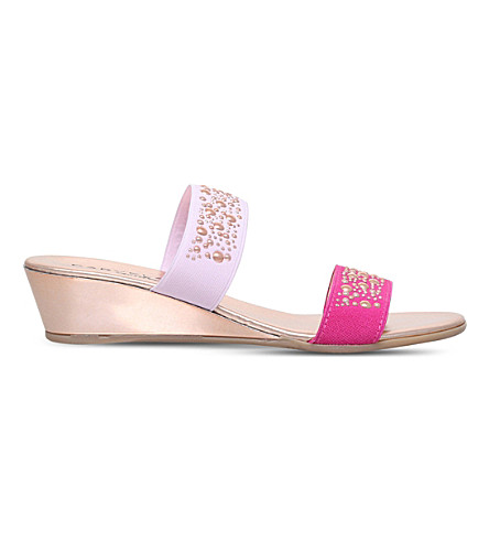 CARVELA COMFORT Sage embellished wedge sandals (Pink+comb