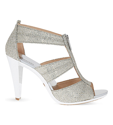 MICHAEL MICHAEL KORS Berkley glitter-embellished leather heeld sandals (Silver