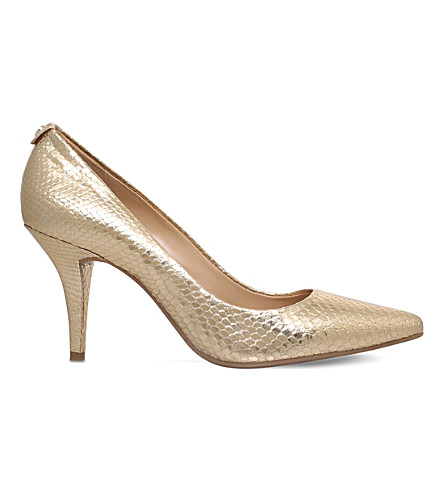 MICHAEL MICHAEL KORS Flex metallic-leather courts (Gold