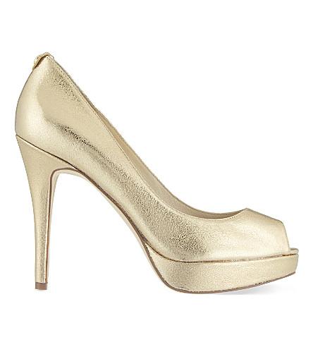 MICHAEL MICHAEL KORS York leather platform heels (Gold