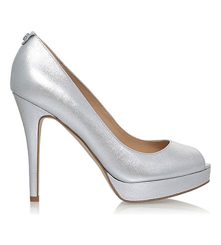MICHAEL MICHAEL KORS York peep-toe leather courts (Silver