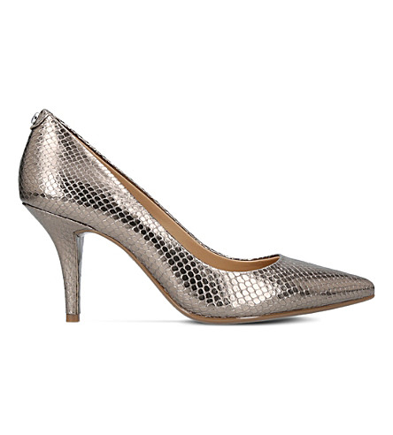 MICHAEL MICHAEL KORS Flex snakeskin leather courts (Silver