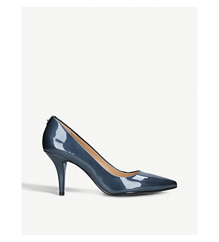 MICHAEL MICHAEL KORS Flex patent-leather mid courts (Navy