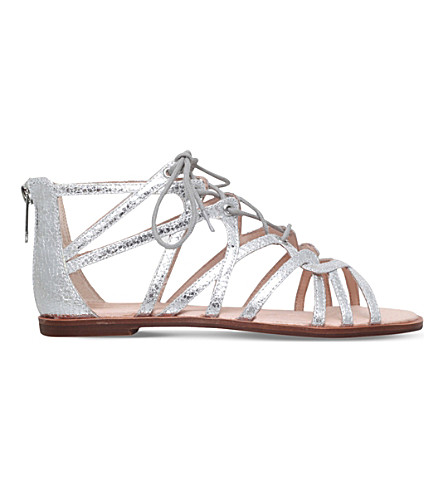 KG KURT GEIGER Maisy lace up front sandals (Silver