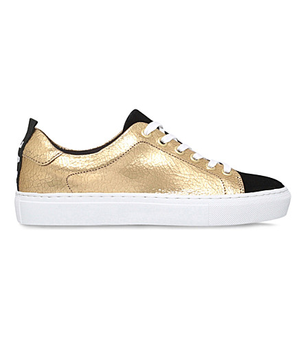 KG KURT GEIGER Lava metallic-leather and suede trainers (Gold