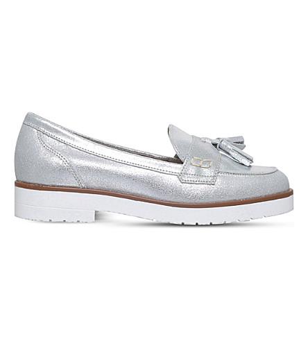 KG KURT GEIGER Kola metallic leather loafers (Silver+com