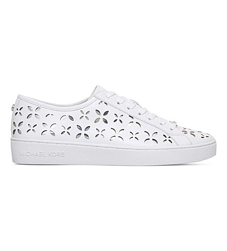 MICHAEL MICHAEL KORS Keaton cutout leather trainers (White/comb