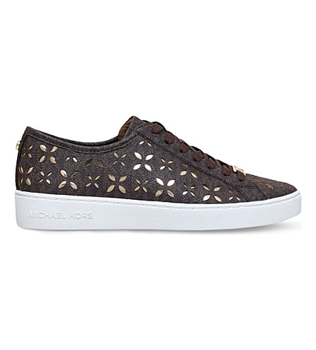 MICHAEL MICHAEL KORS Keaton logo and cut-out leather trainers (Brown/oth