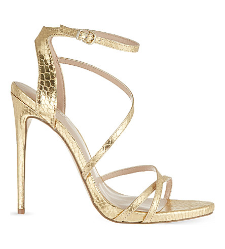 CARVELA Georgia metallic faux snakeskin stilettos (Gold